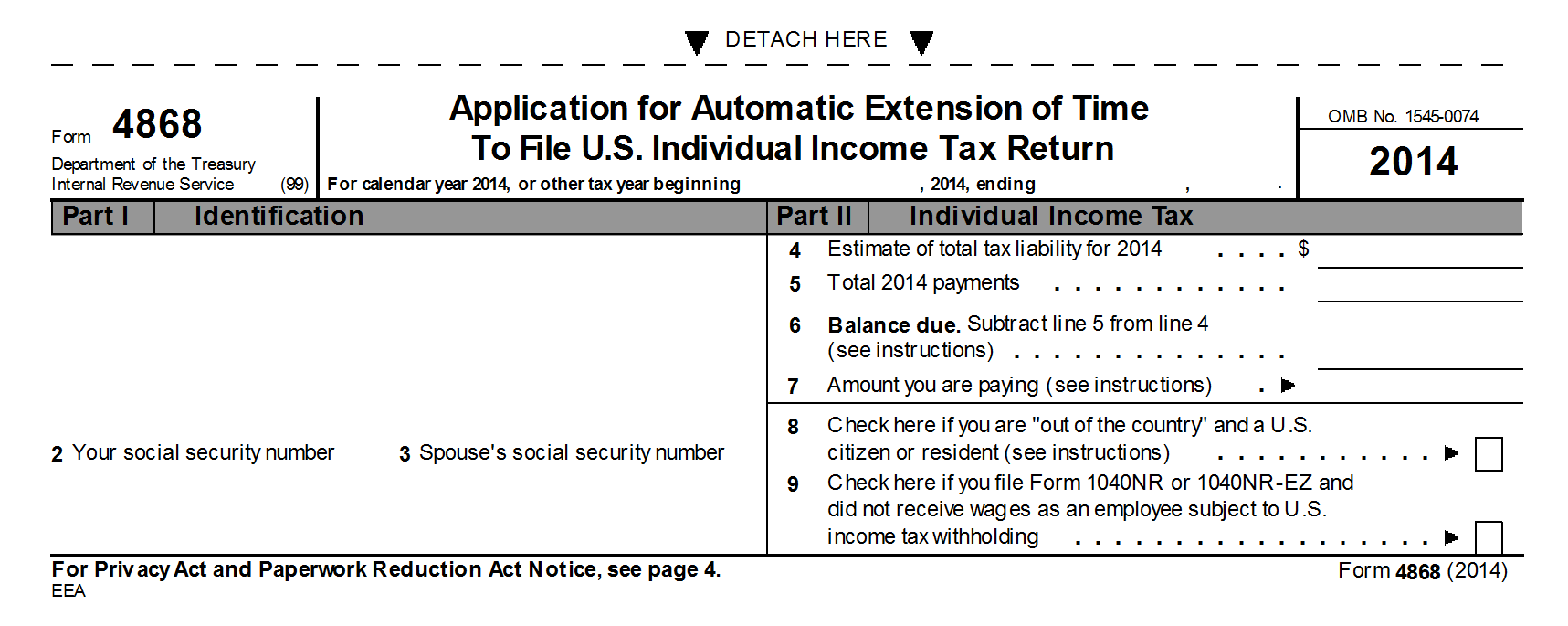 IRS-Form-4868-extension Tax Form Example on federal tax extension, how fill out, federal income tax, individual extension, amount you have already paid, personal extension, free tax, printable blank,